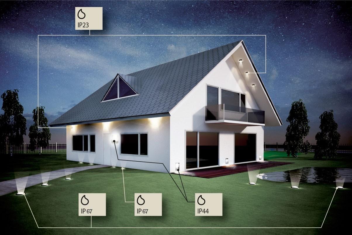 Fasadebelysning hus
