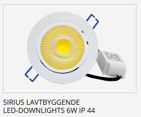 Sirius LED Downlight IP44 Lavtbyggende 6w